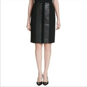 Calvin Klein Black Pencil Skirt with Faux Leather